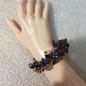 #102b— Natural stones tiny beads cluster bracelet.